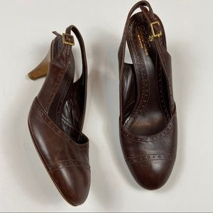 Brooks Brothers Brown Leather Slingback Heel Italy